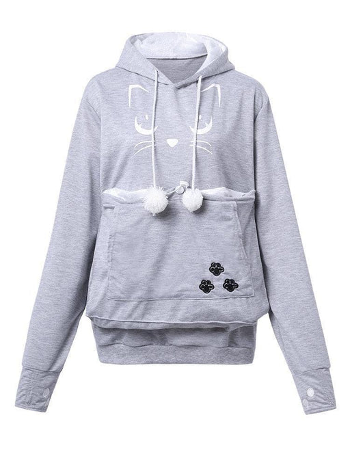 CN Plus Size Hoodies & Sweatshirts Light Grey / S Pure Color Printed Cat Hooded Long Sleeve Hoodie