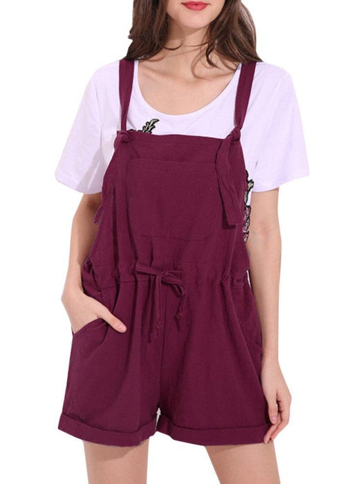 CN Plus Size Jumpsuits & Rompers Wine Red / S Casual Strap Pockets Pure Color Jumpsuits Shorts For Women