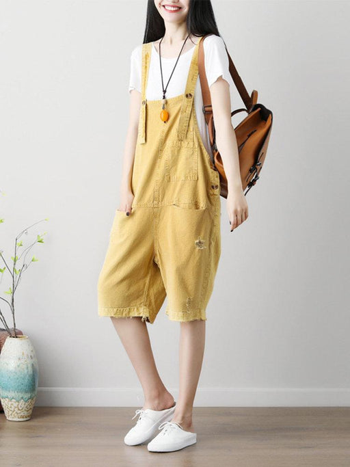 CN Plus Size Jumpsuits & Rompers Yellow / One Size Ripped Overall Jumpsuits