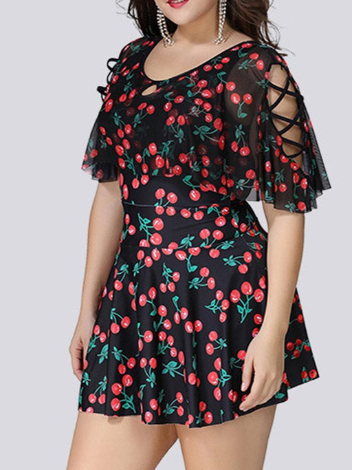 CN Plus Size Printed / XL Cherry Printing Middle Sleeves Swimdresses
