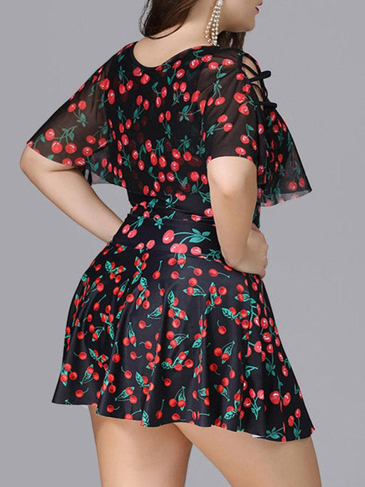 2ad7fcc3d3696 CN Plus Size Printed / XL Cherry Printing Middle Sleeves Swimdresses