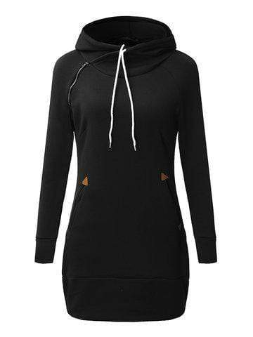 Plus Size Solid Long Sleeve Hooded Mini Dress For Women