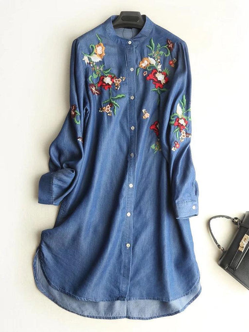 CN Print Dresses Light Blue / M Floral Embroidered Denim Shirt Dresses