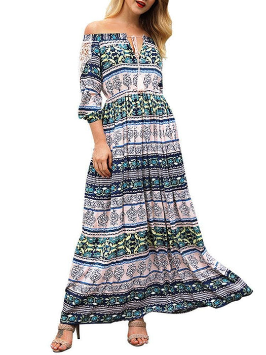 CN Print Dresses Yellow / S Slash Neck Maxi Print Dresses