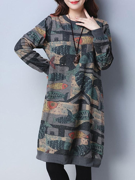 Print Long Sleeve Dresses