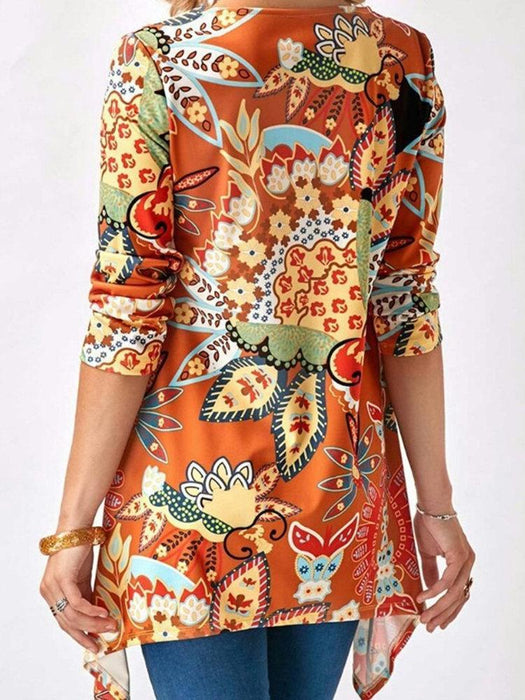 Print Long Sleeves Blouses