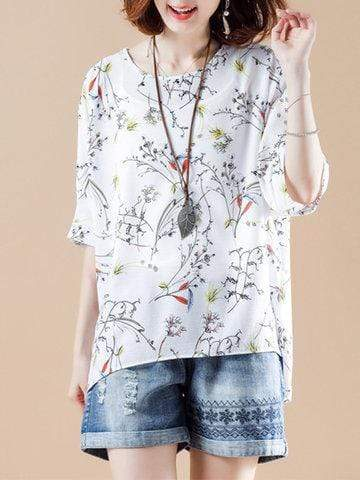 Printed Bat Sleeve Chiffon Shirts