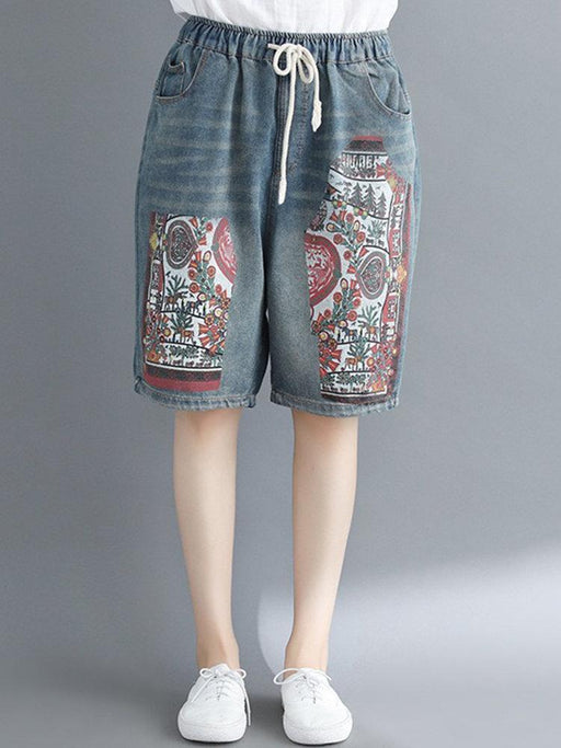Printed Drawstring Denim Shorts