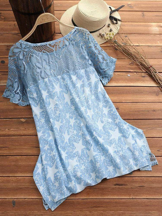 Printed Lace Hollow Blouses