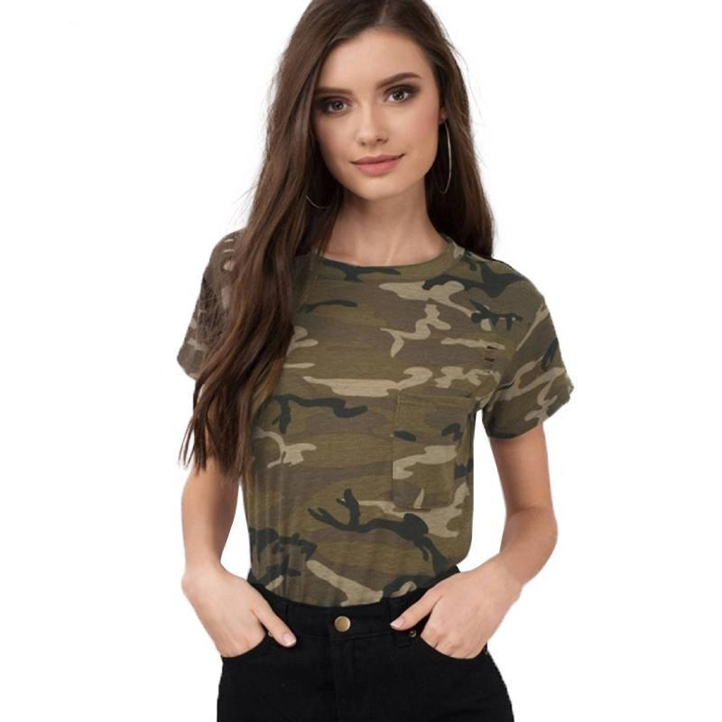 Women Casual Camouflage T-shirt