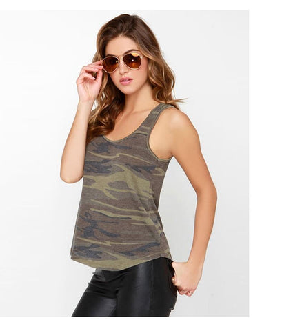 Women Camouflage Army Green Casual Tank Tops Sleeveless