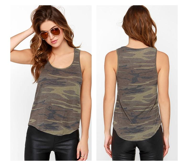 Women Camouflage Army Green Casual Tank Tops Sleeveless - RealBigBuy