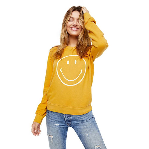 Two Colors Smile Printed Sweatshirt-T-Shirt-RealBigBuy