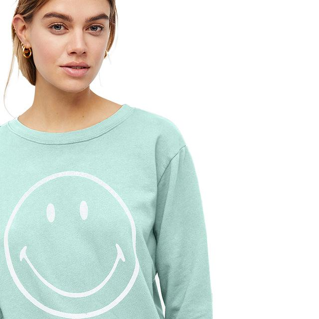 Two Colors Smile Printed Sweatshirt