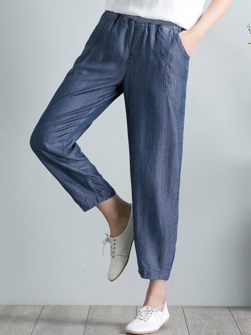 Pure Color Denim Elastic Waist Harem Pants