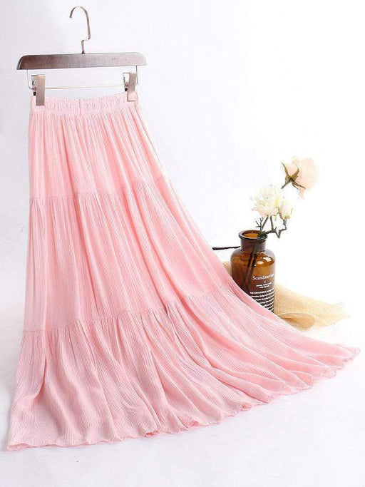 Pure Color Elastic Waist Maxi Skirts
