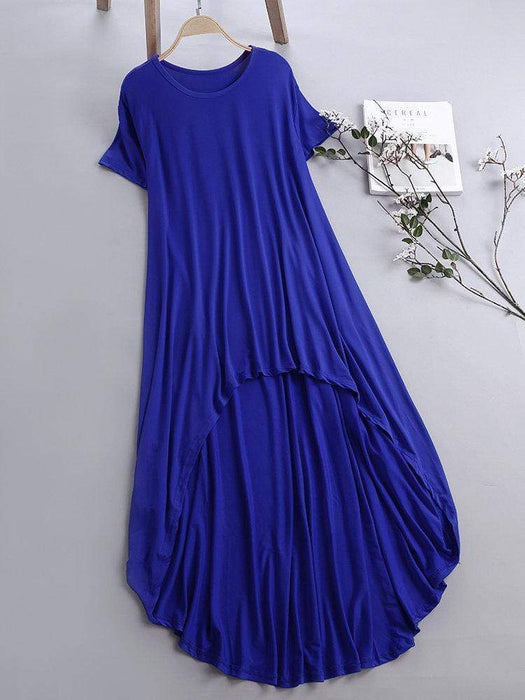 Pure Color Inregular Casual Dresses