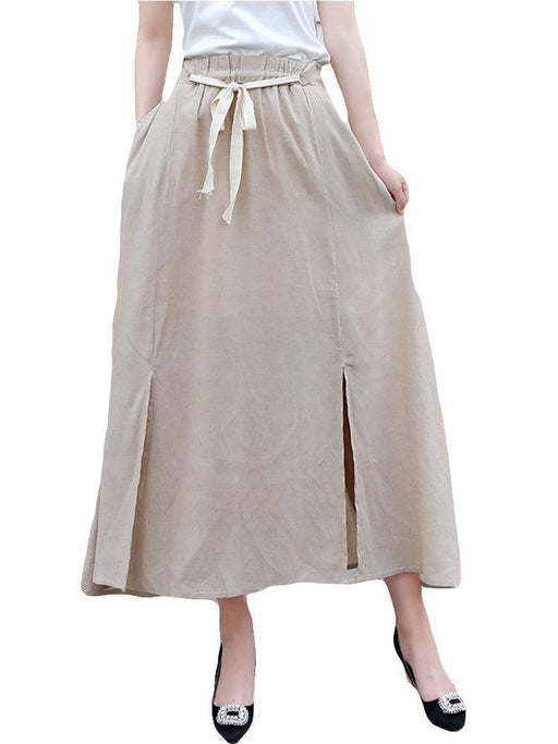 Pure Color Split Elastic Waist Vintage Skirt