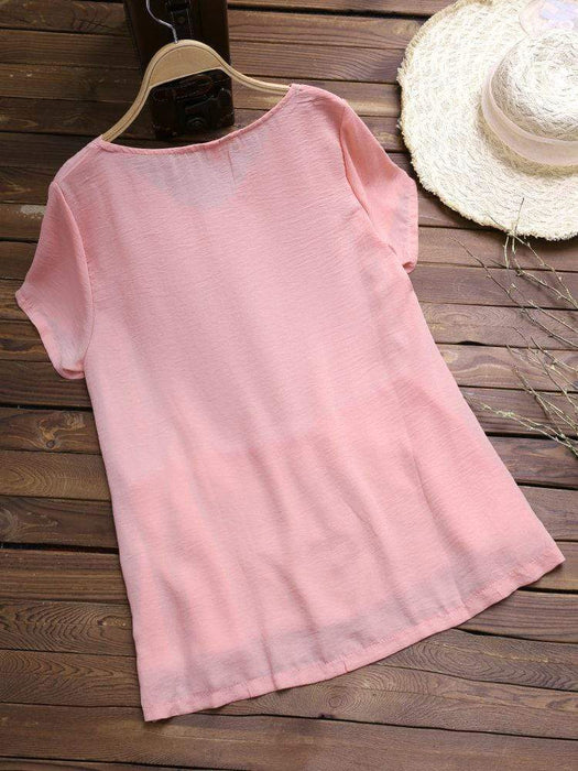 Pure Color V-Neck Layers Chiffon Blouses