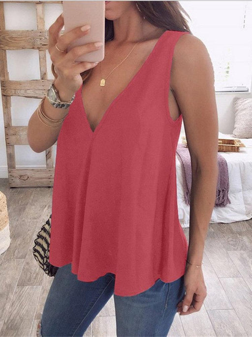 Pure Color V-Neck Tank Top