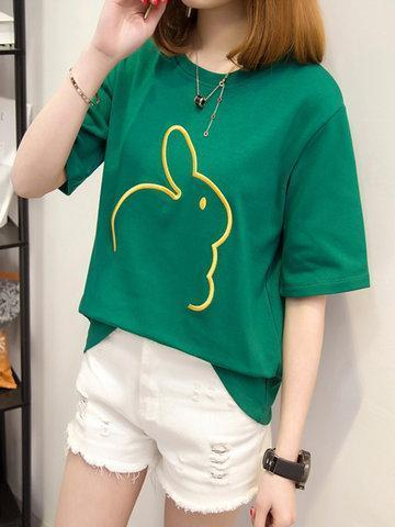 Rabbit Embroidered Casual T-Shirts