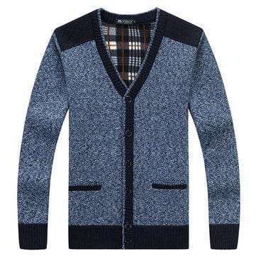 CN Red / M Mens Single Breasted Thicken V-Neck Cardigans