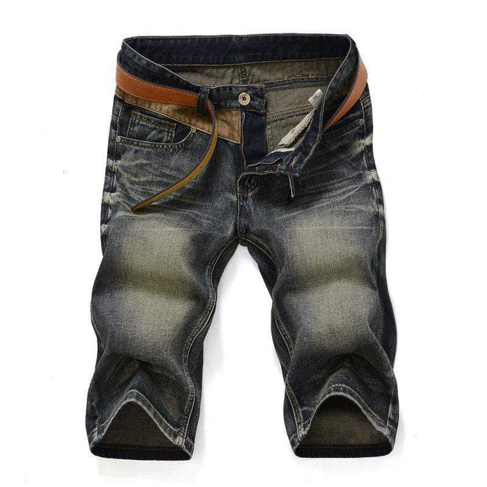 Retro Folds Washed Slim Fit Short Jeans