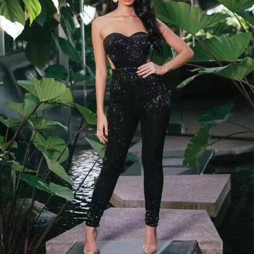 Sequined elegant skinny jumpsuit
