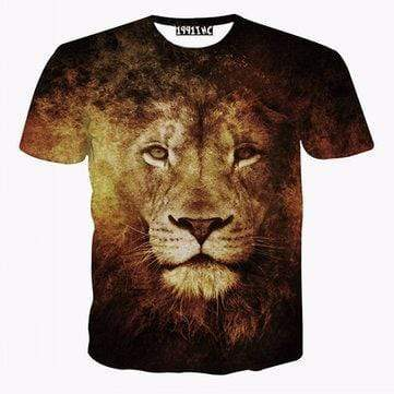 Serious Face Lion Printed T-Shirts