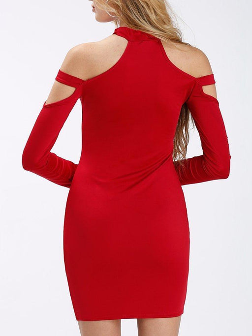 Sexy Cold Shoulder Long Sleeve Bodycon Women Mini Dress