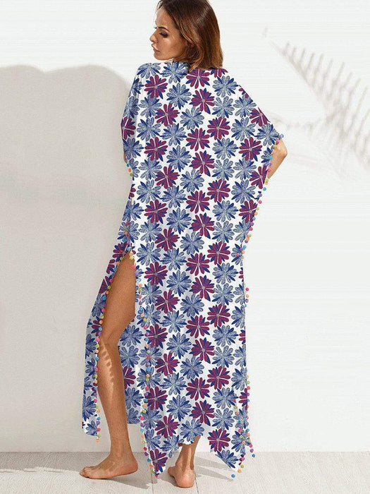 Sexy Cross V-Neck Batwing Sleeve Printed Dresses