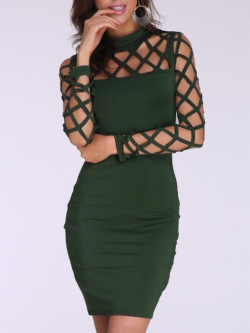 CN Sexy Dresses Army Green / S Sexy Bodycon Hollow Long Sleeve Mini Dress For Women