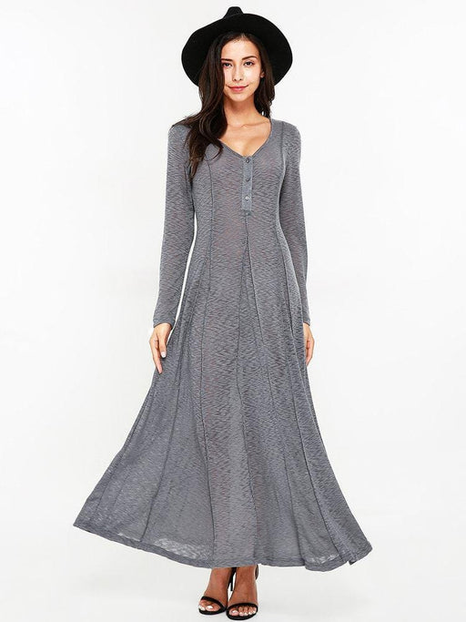 CN Sexy Dresses Grey / S Sexy Women Long Sleeve O-Neck Maxi Dresses