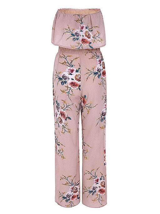 Sexy Floral Print Off-Shoulder Wide Leg Slit Suit For Women
