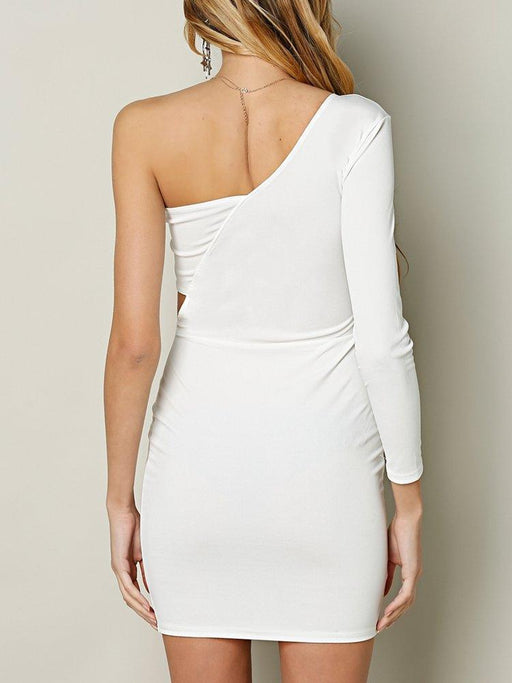 Sexy One Shoulder Hollow Bodycon Women Mini Dress