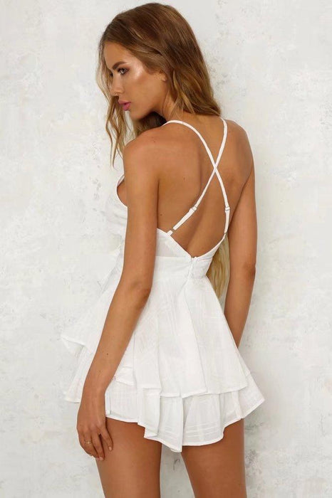 Sexy V Neck Ruffled Romper