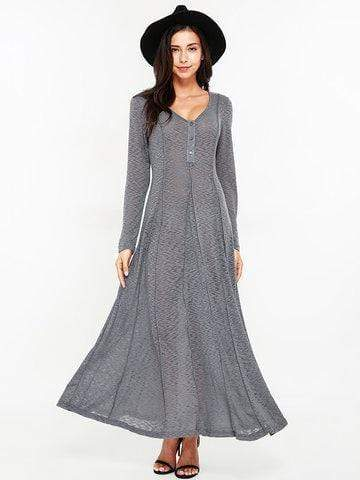 Sexy Women Long Sleeve O-Neck Maxi Dresses