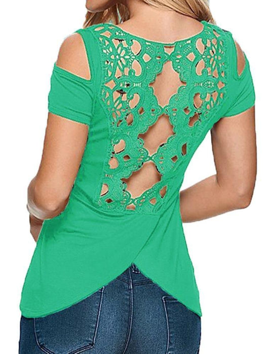 Sexy Women Solid Lace Crochet Hollow Out Backless T-Shirt