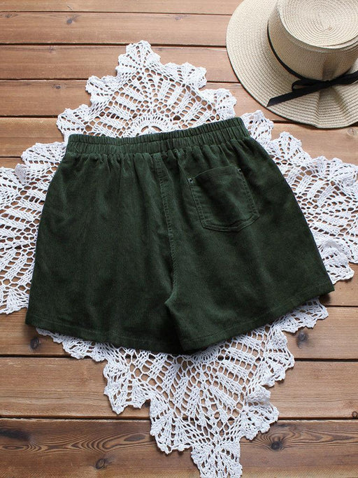 CN Shorts Green / M Corduroy Solid Color Casual Shorts