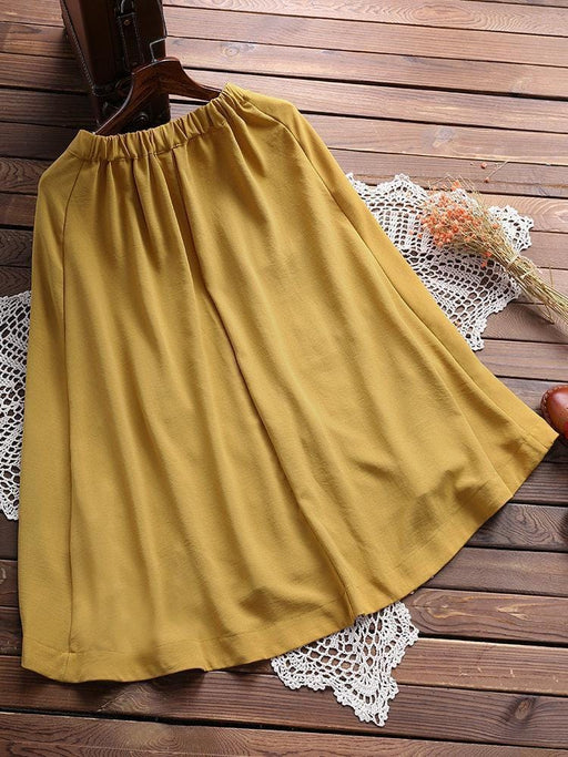 CN Shorts & Skirts Yellow / One Size Pockets Pure Color Elastic Waist Skirts