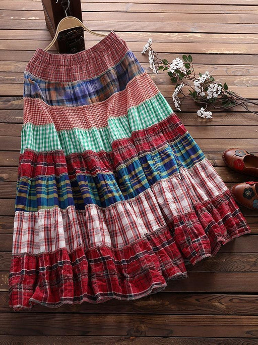 CN Skirts Floral / One Size Plaid Print Patchwork Ethnic Skirts
