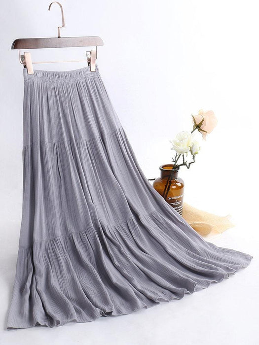 CN Skirts White / 85cm Pure Color Elastic Waist Maxi Skirts