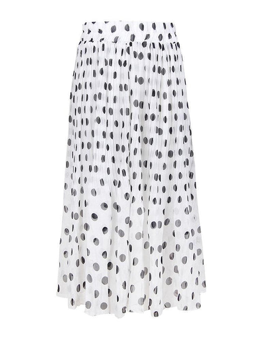 CN Skirts White / XL Polka Dot Elastic Waist Skirts