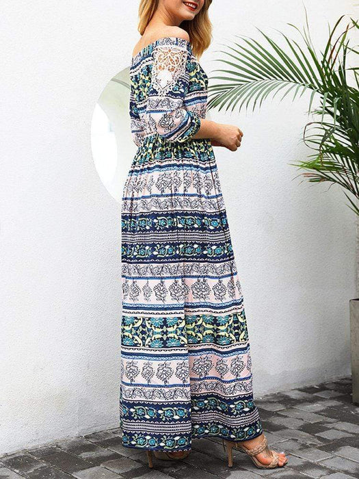 Slash Neck Maxi Print Dresses