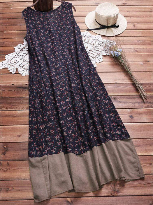 Sleeveless Floral Vintage Dresses With Pockets