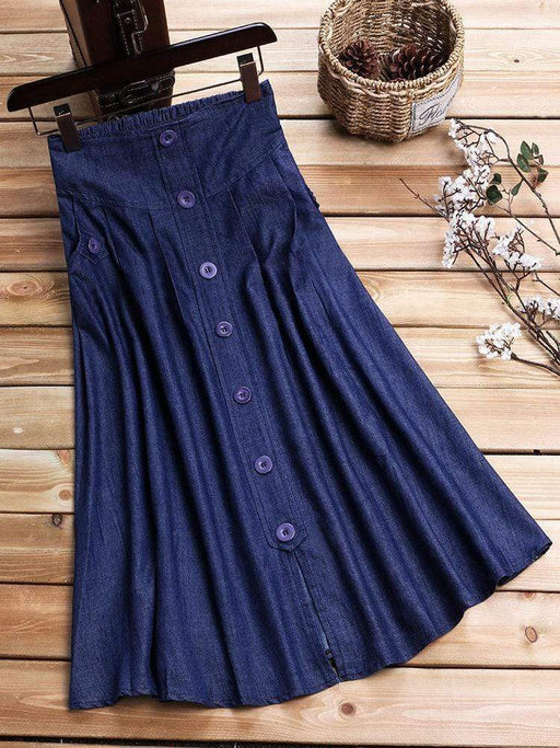 Solid Color Buttons Women Skirts