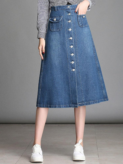 Solid Color Denim Casual Skirts