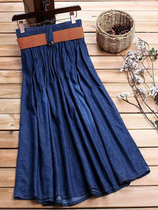 Solid Color Denim Vintage Skirts