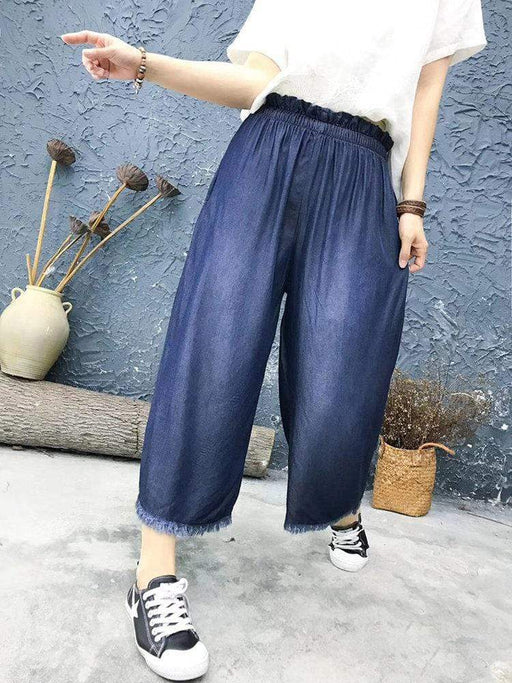 Solid Color Fringes Casual Jeans