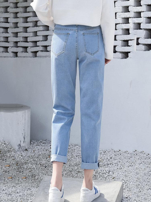 Solid Color Straight Jeans